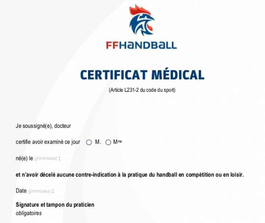 Certificat Medical 2018 2019 Pour Apte A La Pratique Du Handball En