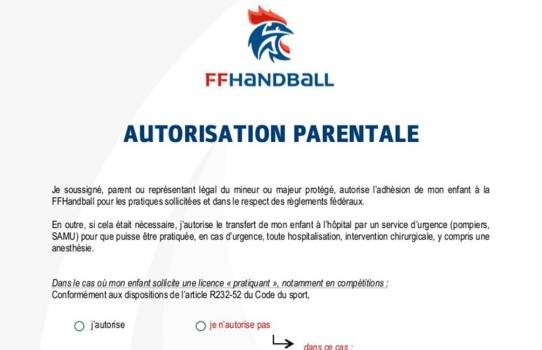 Autorisation parentale FFHB 2016-2017